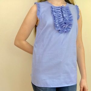 NWOT J. Crew Cotton Ruffle Tank sz 00 Light Blue